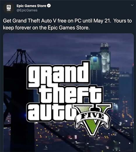 GTA V Coming to Epic Games Store Free