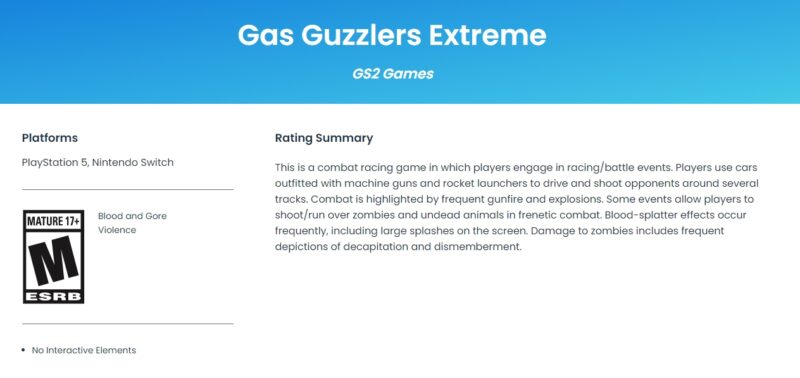 Gas Guzzlers Extreme PS5 Nintendo Switch Release Date